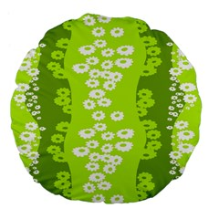 Sunflower Green Large 18  Premium Flano Round Cushions by Mariart