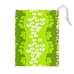 Sunflower Green Drawstring Pouches (extra Large) by Mariart