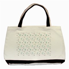 White Triangle Wave Waves Chevron Polka Circle Basic Tote Bag by Mariart