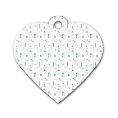 White Triangle Wave Waves Chevron Polka Circle Dog Tag Heart (one Side) by Mariart