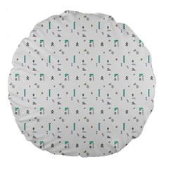 White Triangle Wave Waves Chevron Polka Circle Large 18  Premium Round Cushions by Mariart
