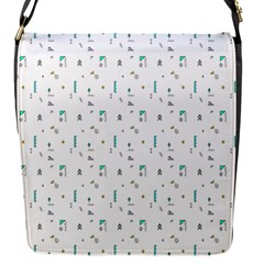 White Triangle Wave Waves Chevron Polka Circle Flap Messenger Bag (s) by Mariart