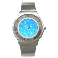 Star Blue Sky Space Line Vertical Light Stainless Steel Watch by Mariart