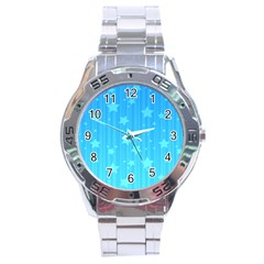 Star Blue Sky Space Line Vertical Light Stainless Steel Analogue Watch by Mariart