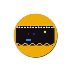 Bright Polka Wave Chevron Yellow Black Rubber Coaster (round)  by Mariart