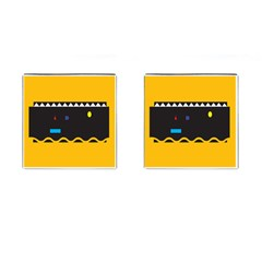 Bright Polka Wave Chevron Yellow Black Cufflinks (square) by Mariart