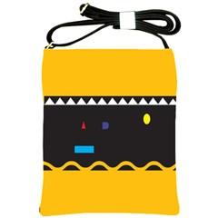 Bright Polka Wave Chevron Yellow Black Shoulder Sling Bags by Mariart