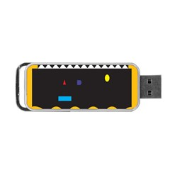 Bright Polka Wave Chevron Yellow Black Portable Usb Flash (two Sides) by Mariart