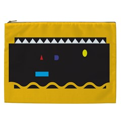 Bright Polka Wave Chevron Yellow Black Cosmetic Bag (xxl)  by Mariart