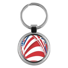 American Flag Star Blue Line Red White Key Chains (round)  by Mariart