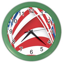 American Flag Star Blue Line Red White Color Wall Clocks by Mariart