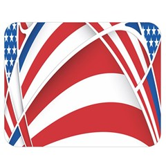American Flag Star Blue Line Red White Double Sided Flano Blanket (medium)  by Mariart
