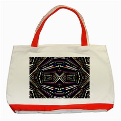 Dark Ethnic Sharp Bold Pattern Classic Tote Bag (red) by dflcprints