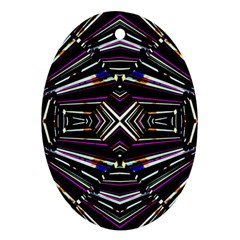 Dark Ethnic Sharp Bold Pattern Oval Ornament (two Sides) by dflcprints