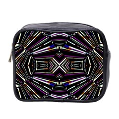 Dark Ethnic Sharp Bold Pattern Mini Toiletries Bag 2 Side by dflcprints