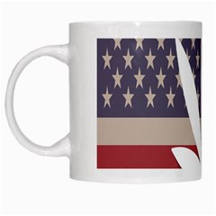 Flag American Star Blue Line White Red Marijuana Leaf White Mugs by Mariart