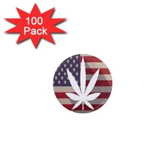 Flag American Star Blue Line White Red Marijuana Leaf 1  Mini Magnets (100 Pack)  by Mariart