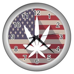 Flag American Star Blue Line White Red Marijuana Leaf Wall Clocks (silver)  by Mariart