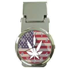 Flag American Star Blue Line White Red Marijuana Leaf Money Clip Watches by Mariart