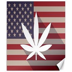 Flag American Star Blue Line White Red Marijuana Leaf Canvas 8  X 10  by Mariart