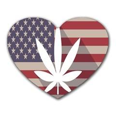 Flag American Star Blue Line White Red Marijuana Leaf Heart Mousepads by Mariart