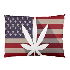 Flag American Star Blue Line White Red Marijuana Leaf Pillow Case by Mariart