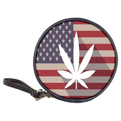 Flag American Star Blue Line White Red Marijuana Leaf Classic 20 Cd Wallets by Mariart