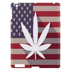 Flag American Star Blue Line White Red Marijuana Leaf Apple Ipad 3/4 Hardshell Case by Mariart