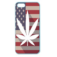 Flag American Star Blue Line White Red Marijuana Leaf Apple Seamless Iphone 5 Case (color) by Mariart