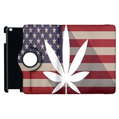 Flag American Star Blue Line White Red Marijuana Leaf Apple Ipad 2 Flip 360 Case by Mariart