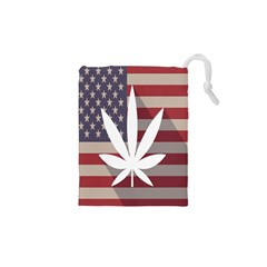 Flag American Star Blue Line White Red Marijuana Leaf Drawstring Pouches (xs)  by Mariart