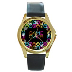 Game Face Mask Sign Round Gold Metal Watch by Mariart