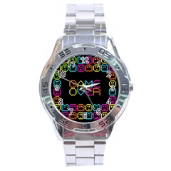 Game Face Mask Sign Stainless Steel Analogue Watch by Mariart