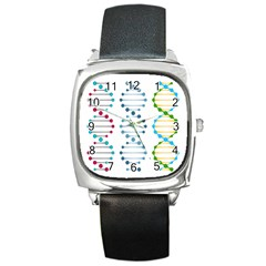 Genetic Dna Blood Flow Cells Square Metal Watch by Mariart