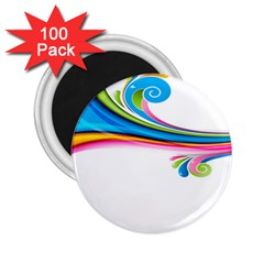 Colored Lines Rainbow 2 25  Magnets (100 Pack)  by Mariart