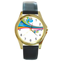 Colored Lines Rainbow Round Gold Metal Watch by Mariart