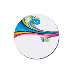 Colored Lines Rainbow Rubber Round Coaster (4 Pack)  by Mariart