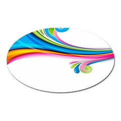 Colored Lines Rainbow Oval Magnet by Mariart