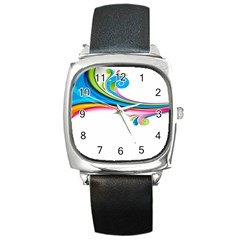 Colored Lines Rainbow Square Metal Watch by Mariart