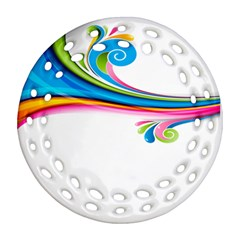 Colored Lines Rainbow Ornament (round Filigree) by Mariart