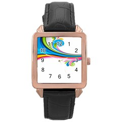 Colored Lines Rainbow Rose Gold Leather Watch  by Mariart
