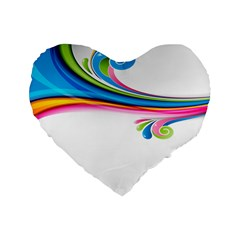 Colored Lines Rainbow Standard 16  Premium Flano Heart Shape Cushions by Mariart
