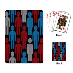 Human Man People Red Blue Grey Black Playing Card by Mariart
