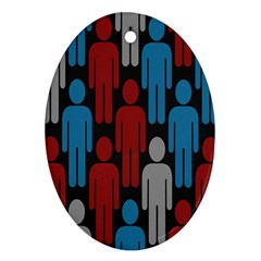 Human Man People Red Blue Grey Black Oval Ornament (two Sides) by Mariart