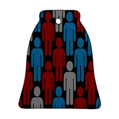 Human Man People Red Blue Grey Black Bell Ornament (two Sides) by Mariart