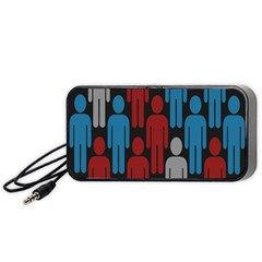 Human Man People Red Blue Grey Black Portable Speaker (black) by Mariart