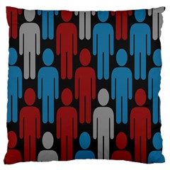 Human Man People Red Blue Grey Black Large Cushion Case (two Sides) by Mariart