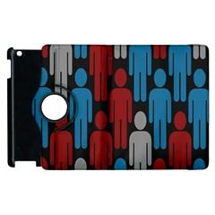 Human Man People Red Blue Grey Black Apple Ipad 3/4 Flip 360 Case by Mariart