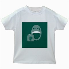 Laughs Funny Photo Contest Smile Face Mask Kids White T Shirts by Mariart