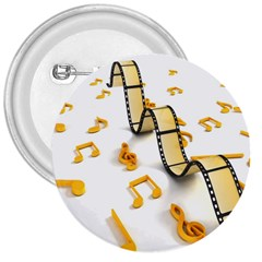 Isolated Three Dimensional Negative Roll Musical Notes Movie 3  Buttons by Mariart